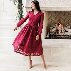 Rachel Parcell Noel Long Sleeve Lace Midi Dress